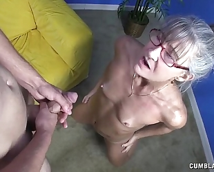 Horny granny acquires splattered