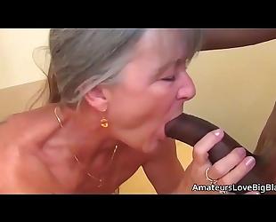 Grey haired granny enjoys large dark ramrod