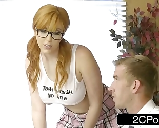 Professor giving redhead student lauren phillips a second chance at the exam