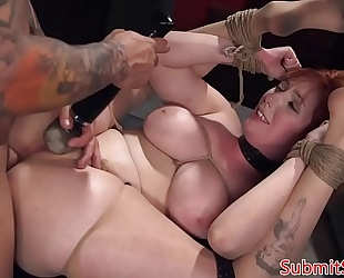 Bigtits redhead sub fucked into ass in sadomasochism act