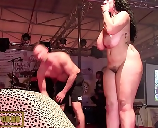 Bbw brunette hair fucking large rod on stage