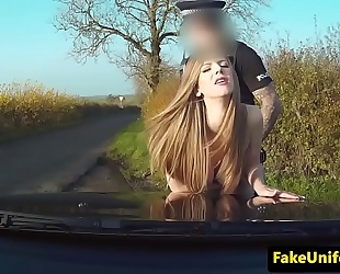 Uk sweetheart fucked right into an asshole by uniformed cop outdoors