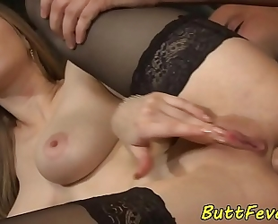 Glam beauty fucked right into an asshole in hawt nylons