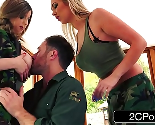 Tough soldier harlots lexi lowe & stella cox are willing for any shlong
