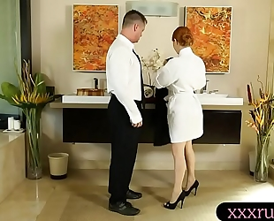 Big love bubbles redhead drilled by her client after massage