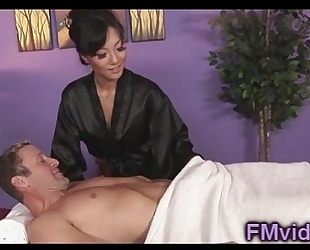Asian babe asa akira engulfing weenie after massage