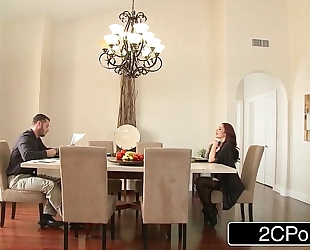 Trophy horny white wife monique alexander bent over the breakfast table and screwed
