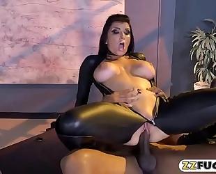 Massive meatballs pornstar receives slammed by large dark rod