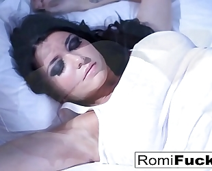 Solo enjoyment on the daybed with the breasty pornstar romi rain