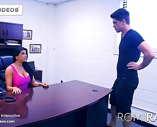 Romi rain the breasty secretary in the office is a excited wench!