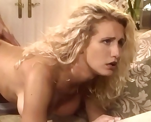Busty blond milf fucking in haunch high nylons