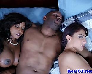 Ebony slutty wife and ally cum swapping
