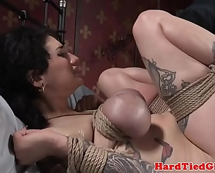 Inked sadomasochism sub bound up and slapped by maledom