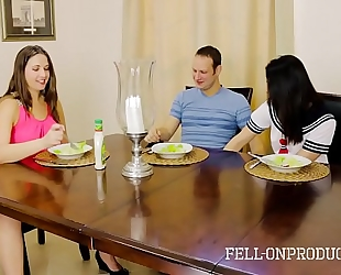 Milf mama plays with fur pie whilst watching daughter and brother fuck