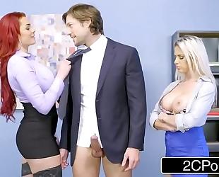 Rachel roxxx and skyla novea share some office schlong