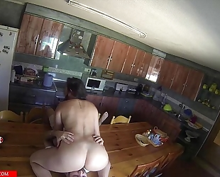 Sucking snatch and doing 69 in the kitchen