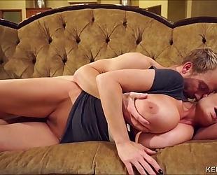 Kelly madison unleashes her giant milk shakes on her hubbys large ramrod