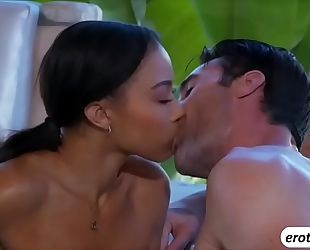 Gorgeous ebon sweetheart adrian maya in a steamy 3some
