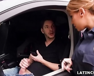Latina officer caught on a stud jerking off in his car! - mercedes carrera