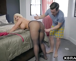 Bbw stepmom is lascivious and wishes a youthful dong in her large arse