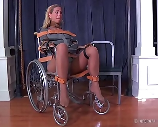 Blonde milf cherie deville bound gagged in a straitjacket and wheelchair smoke