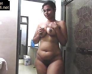 Mature indian mama pressing large desi bumpers in shower masturbation