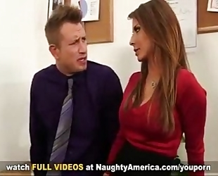 Madison ivy breasty secretary acquires tit screwed by her bosses large pecker on office desk