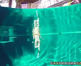 Wild three-some with slutty jade jantzen on pool