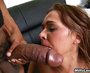 Big rod interracial sex and cum swallowing