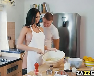 Jasmine jae teases the camera and marc during the time that baking