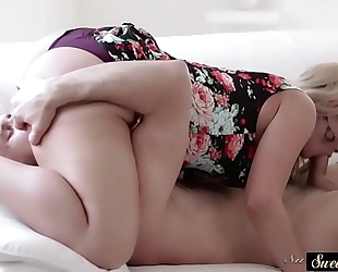 Deepthroating stepsister drenched with cum