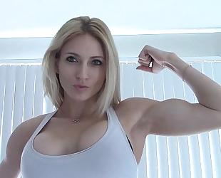 Haley flexing her super firmed biceps