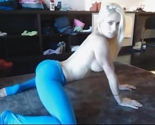 Haley ryder - blue yoga panties cum