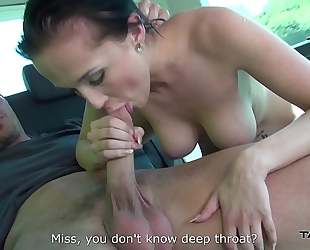 Mea melone assist convince youthful breasty chick to coome in van where drilled solely