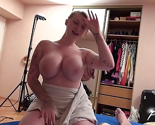 Moster boobs golden-haired receives cumshots from tired oozing 10-Pounder