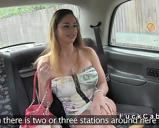 Huge love melons hairless blond bangs in cab