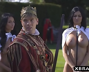 King copulates his breasty sexually excited servants jasmine and anissa