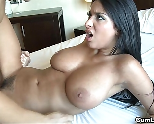 Anissa kate jerks a jock with her giant boobies