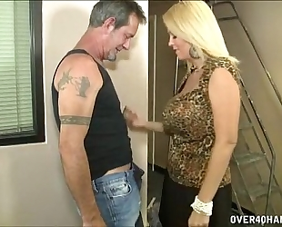 Hot breasty milf jerks off a aged chap