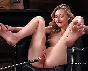 Small tittied blond fucking machine