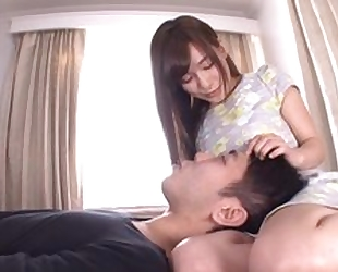 Perverted Japanese chick sticks her tongue into BF's asshole