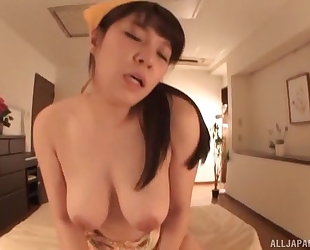 Succulent Asian girl gets sprayed with warm jizz