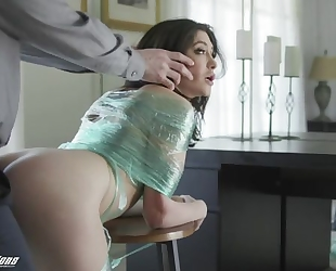 Naughty brunette with natural tits gets punished with a big dick