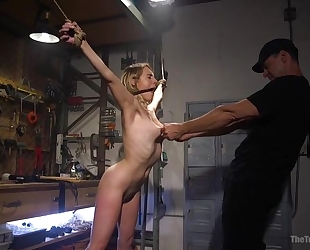 Bound sub with natural boobs gets roughly fucked by her master