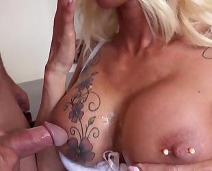 Lusty secretary in black stockings seduced her boss