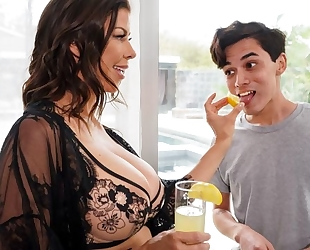 Dark-haired housewife seduces and fucks young pool boy