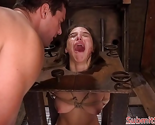 Pegged s&m sub boxed previous to electrosex