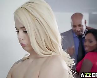 Petite blonde elsa jean sexy trio interracial fuck