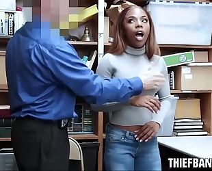 Ebony legal age teenager thief sarah banks caught stealing naked & screwed
