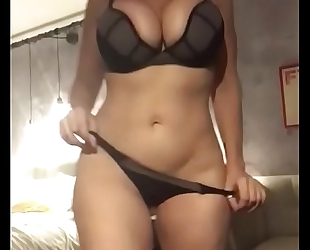 Sara jay shows her thick body and masturbates during striptease